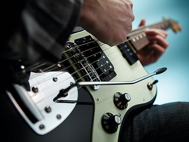 The Jazzmaster retains its usual vibrato and neck single-coil.