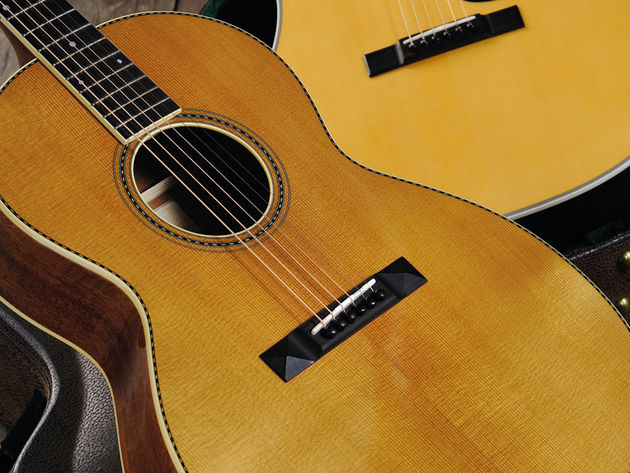 The guitar exudes a vintage, pre-war feel.