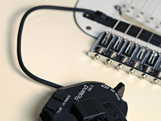 The hex pickup is easily attached to your guitar of choice.