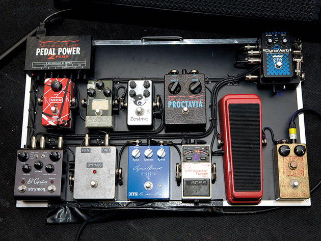 When we caught up with Nalle in London recently, he was using his favourite VOS Les Paul into this rather dribblesome pedalboard, and on to a pair of Fender Tweed Deluxe 1 x 12 combos.