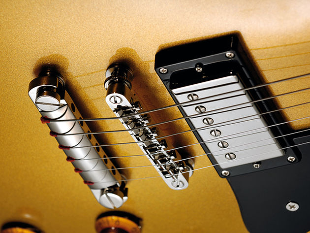 The Epiphone's tailpiece is strung backwards, just how Bonamassa likes it.