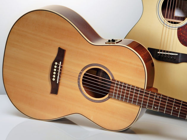 The Seagull boasts mahogany back and sides, with a solid spruce top.