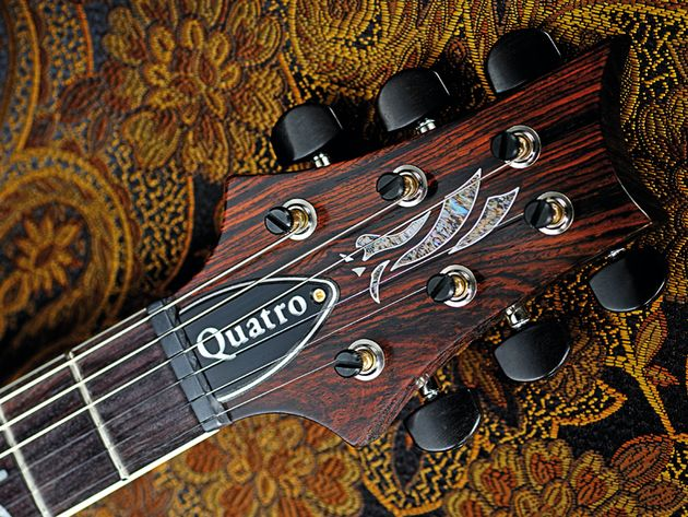 The Quatro's neck is shaped from unusual dalbergia wood, sourced in India.
