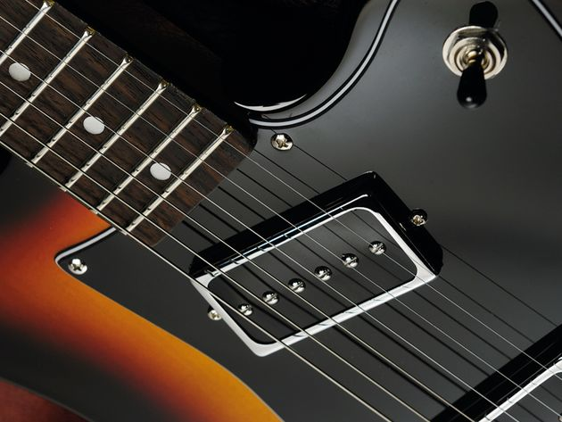 The neck pickup is positioned at an angle.