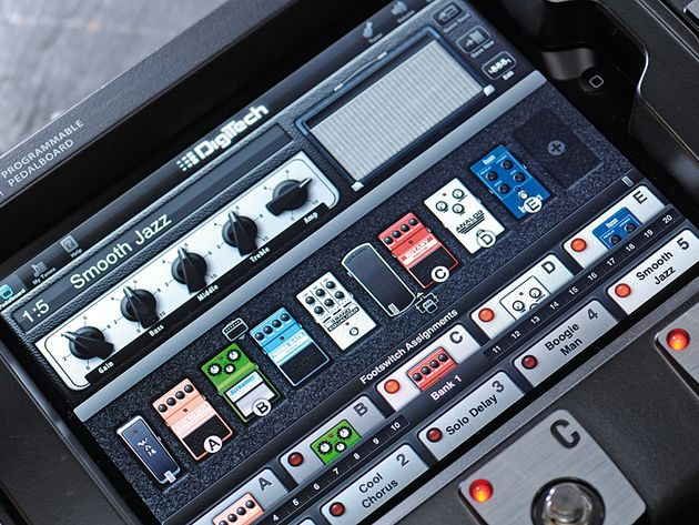 The DigiTech iPB-10 innovatively locks an iPad in place as its controller.
