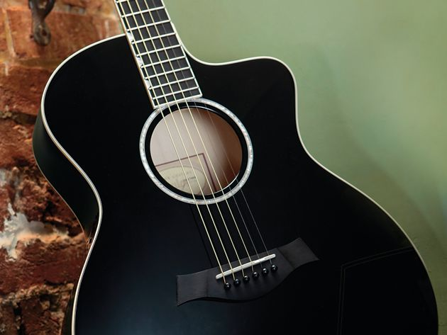 The Taylor Doyle Deluxe sports a high-gloss, jet black finish that you'll either love or hate.