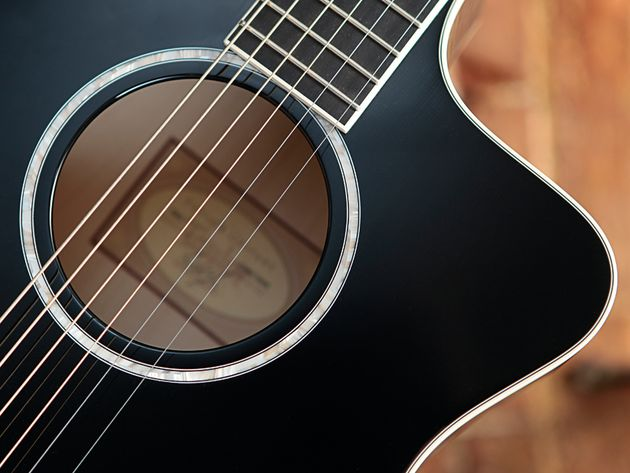 The soundhole rosette is simpler than on the USA-made DDSM, but still fetching.