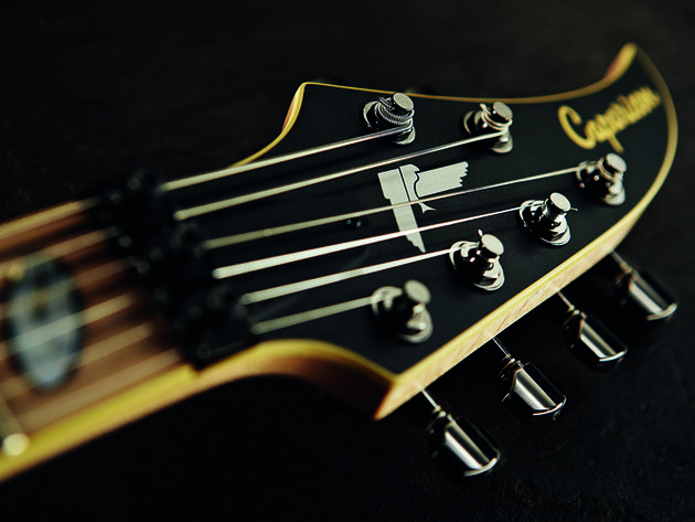 The Devil's Tail headstock leaves no doubt about the metal intentions here.