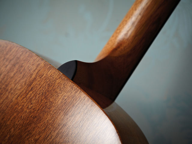 The one-piece mahogany neck is joined using the Collings-style bolting method.