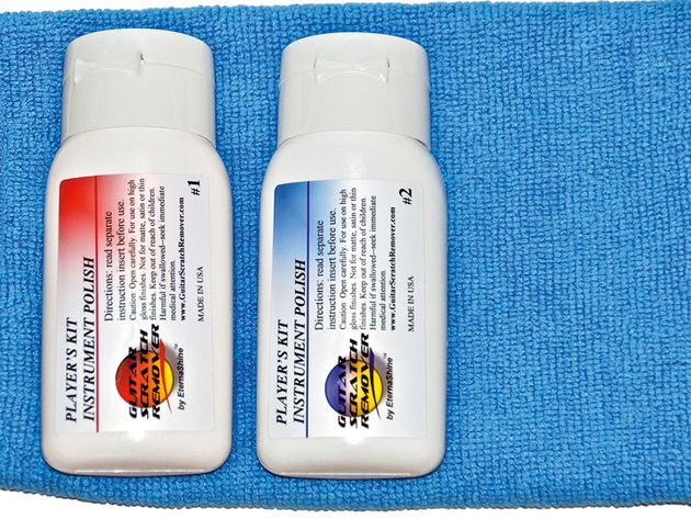 EternaShine's scratch removal kit contains two polishes - of different levels of abrasion - and a microfibre cloth.