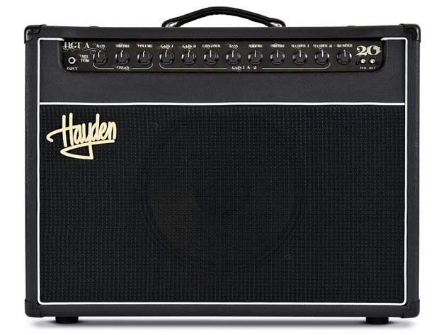 The Hayden HGT-A20's front panel splits the channel controls into clean, and gain one and two.