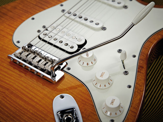 The Select Strat's two-post vibrato has vintage-style bent-steel saddles.