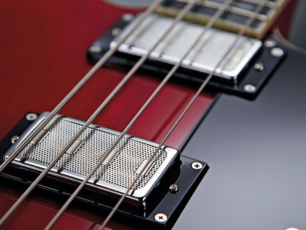 The Viking Bass's pickups can be used as single-coils or humbuckers, and blended for variety.