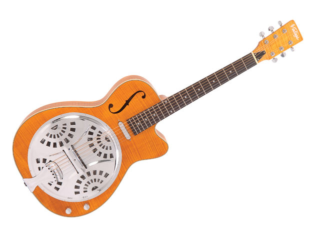 The Vintage VRC-800AMF electro resonator has an eye-catching satin amber finish.