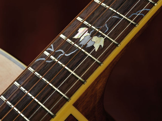 The fingerboard features a 'growing vine' motif in mother-of-pearl, while a three-leaf cluster sits at the 'board's 12th fret