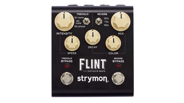 The spirit of the Flint harks back to a pre-fuzz box era when the only effects at guitarists' disposal were tremolo and spring reverb circuits