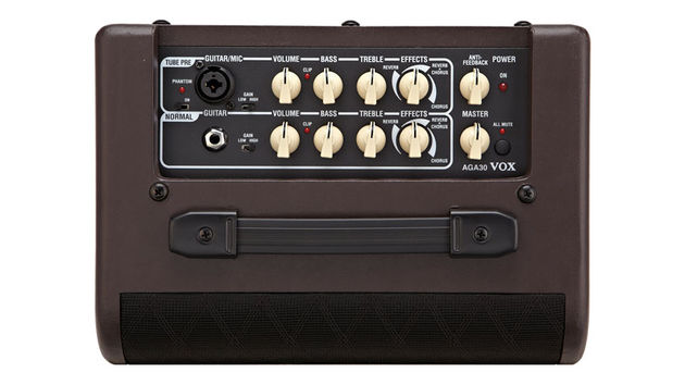 The Vox AGA30's top-mounted control panel