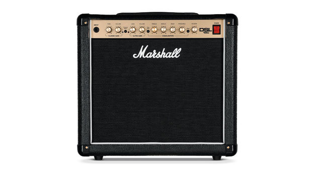 Black vinyl, black grille, gold panel, white piping and, of course, the familiar white script logo - it's definitely a Marshall