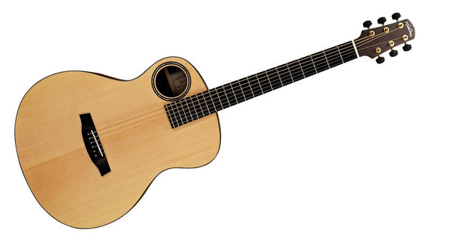 The theory behind the positioning of the Walden B1's soundholes is that the player can hear more of the guitar