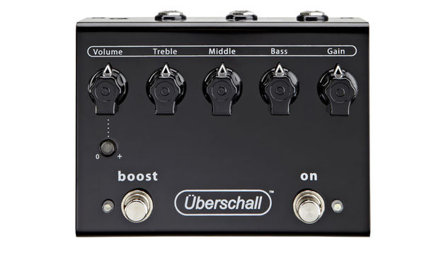 The black 'Armageddon in a box' Uberschall pedal has a simple control layout