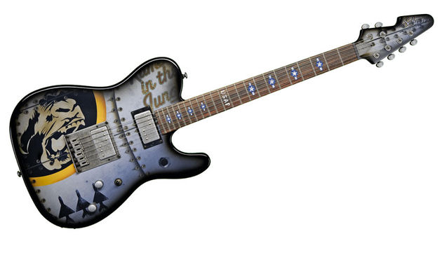 The Top Gun vibe is enhanced by the presence of 'Stars & Bars' and 'USAF' fingerboard inlays
