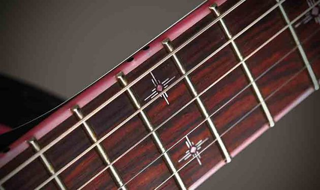 Steve favours jumbo frets, as here on the immaculate rosewood fingerboard