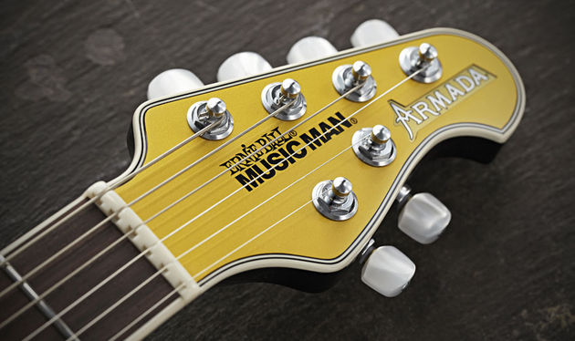 Although the body shape is a departure for Music Man, the brand's familiar 4+2 headstock design remains, albeit with a back angle and gold paint job