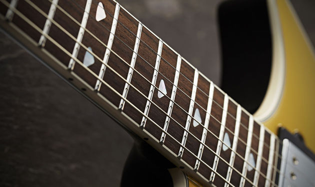 The neck's chunky profile is based on a 1959 Gibson Les Paul Standard, but the Armada's high gloss polyester finish contributes to a very different feel