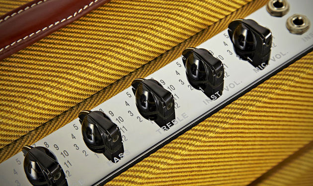 In addition to the 'instrument' inputs (high and low), there are also two 'mic' inputs with a slightly thinner, more distorted sound. You can blow a harp through it, or plug your guitar in for a different feel