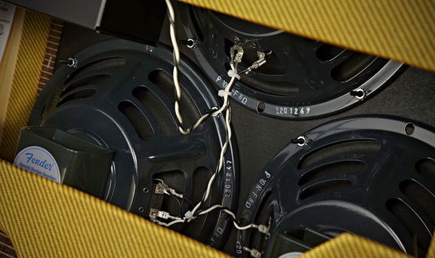 The three 10-inch Jensen P10R-F speakers are custom-designed especially for Fender, and use alnico magnets