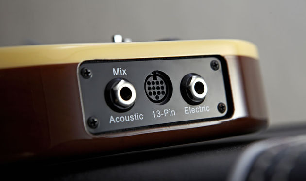 Three voices, one guitar: acoustic mix, MIDI and electric outputs