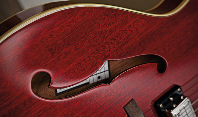 Unlike another famous thinline semi, the Starfire's body is laminated mahogany