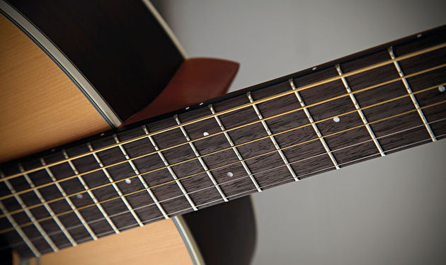 The edges of the rosewood fingerboards are bound with a black plastic so you don't see the fret slots