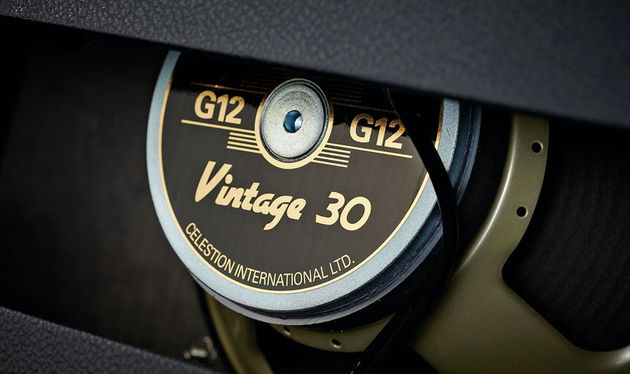 The Vintage 30 Celestion driver's high efficiency helps the V10 sound much louder than you'd expect from an amp of this rating