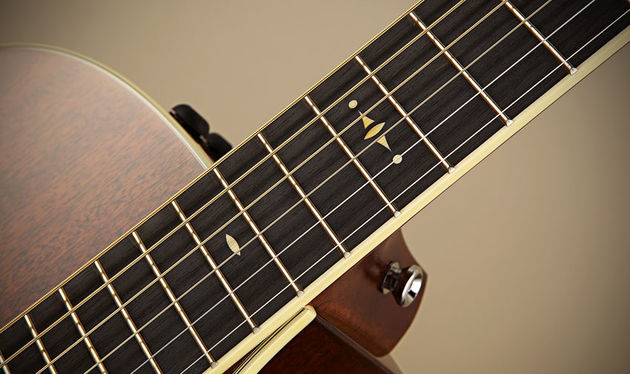 The old-school 'Century' inlays look great on the 526ce's ebony fingerboard