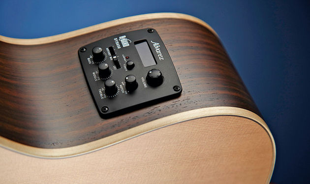 The well-spec'd preamp controls a dual under-saddle and soundboard pickup system