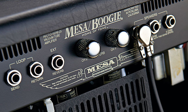 The rear panel houses separate reverb controls for each channel, typical of the attention to detail found in all Mesa amps