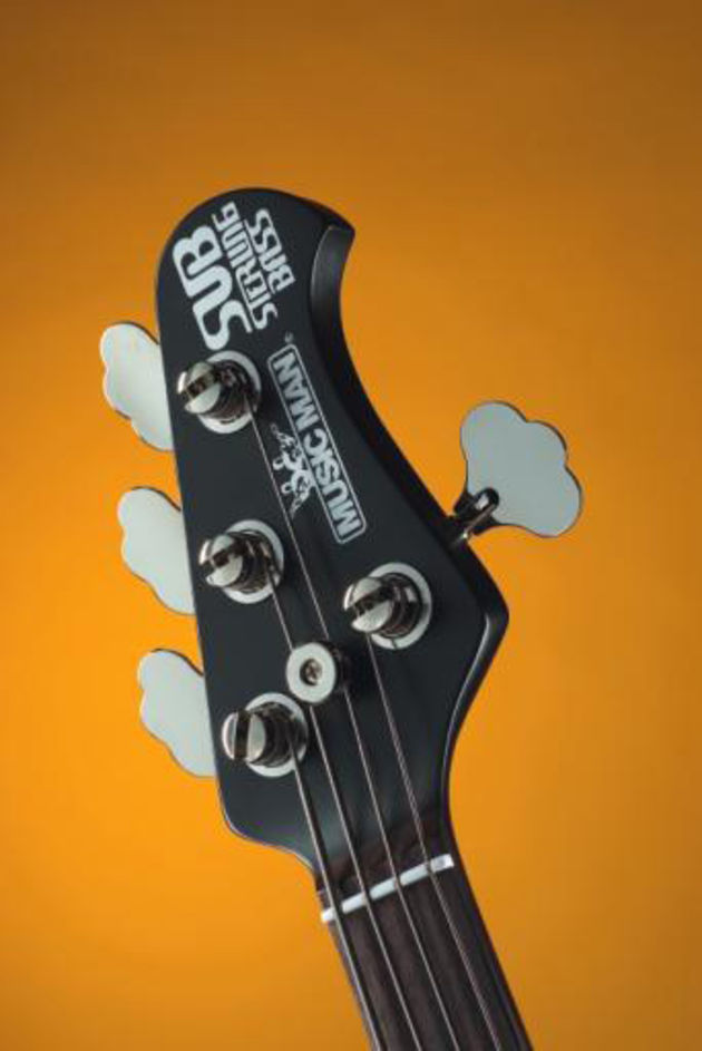 The SUB's black and chrome headstock with 'elephant ear' tuners is cool as you like.