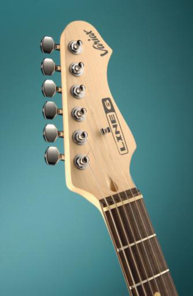 The Variax headstock with a complement of sealed tuners