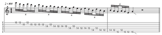 Example 1: Triplet pentatonic run. Here's a descending minor pentatonic in triplets favoured by countless rock players like Jimmy Page and Slash. However, Hammett tends to pick every note to give it extra bite - you can hear him playing patterns like this during his solo for Disposable Heroes.