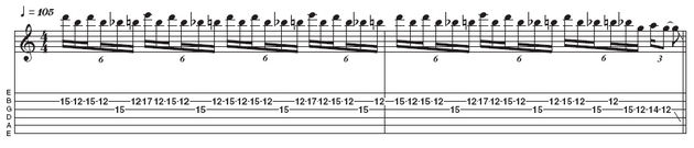 Example 2: Stretchy pentatonic lick. Although this is sextuplet based, the ordering of the notes (in particular the first and third notes of each sextuplet), makes it less cliched than the previous example. Notice the blue note (b5) adds some tension to the lick, ideal for metal scenarios (Dimebag Darrell occasionally favoured this blues-scale approach, too).