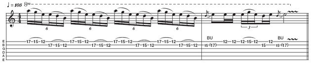 Example 3: Repetitive three-note-per-string pentatonic. The pull-off pattern in the first bar requires you to have your thumb in the middle of the back of the neck so you can stretch comfortably. A similar lick can be heard in Hammett's solo on the latter part of Welcome Home (Sanitarium).