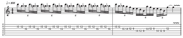 Example 4: Three-note-per-string metal blues lick. By using the blues scale within a metal framework (ie, using a speedy repetitive lick that works the 'blue' note rather than simply treating it as a passing note), Kirk can add a lot of exciting tension to his soloing. Spend some time mastering the slightly awkward three-note-per-string fingering and position shifts in the last bar.