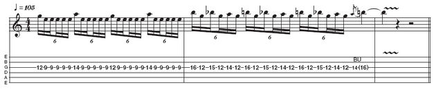 Example 5: Pivot-note lick. This example demonstrates the machine gun-effect of fast picking one pivotal note (E on the ninth fret, third string) that is interspersed with hammer-ons. The start of the solo in the latter part of Welcome Home (Sanitarium) is one example of this. Start slow with this one, and then build up to speed.