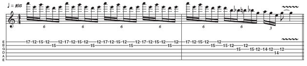 Example 6: Stretchy pentatonic lick v2. The sextuplet groupings here are similar to those found in example 2, so if you've nailed that, this final example shouldn't prove too tricky. This lick is often used by Hammett and is very effective at high tempos. Shred on!