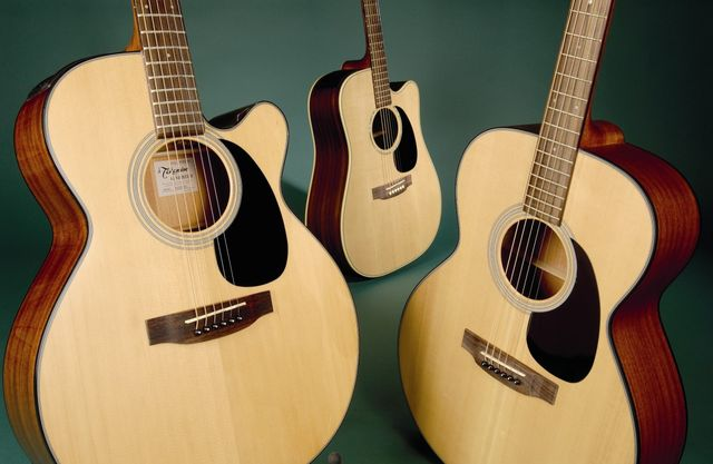 Takamine's EG220SC (left), EG330SC-NS (centre) and G220S-NS (right)