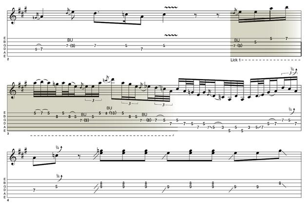 Lick 1: Stevie would put this lick, or any number of variations on it, in any part of a blues song, slow or fast. It's a direct descendant of Hendrix, and what makes it different is the fact that the hammer-on, pull-off move uses a tone (fifth to seventh fret) on the first string instead of the more common minor third (fifth to eighth frets).