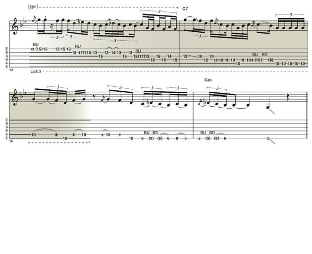 Lick 3: Again, here's that slightly frantic vibrato. Notice how some notes here are bent and others slide into place. Larry also likes to insinuate the b5 and the 6th notes - both also favourites of Robben Ford. With all these licks, be sure to make them generally lazy and mix almost ghosted notes with harder-picked ones.