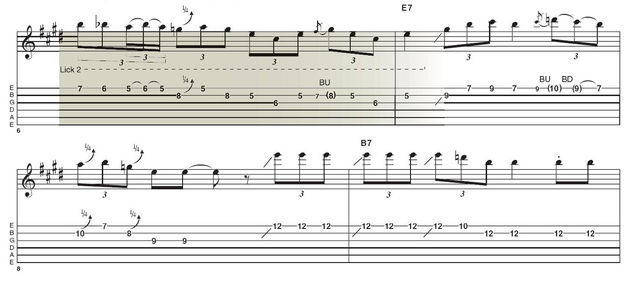 Lick 2: Here we find ourselves in the BB box - position five of the minor pentatonic scale. The semitone hammer-on and pull-off move highlights the b5 of the blues scale and is another move that Stevie Ray Vaughan also used.