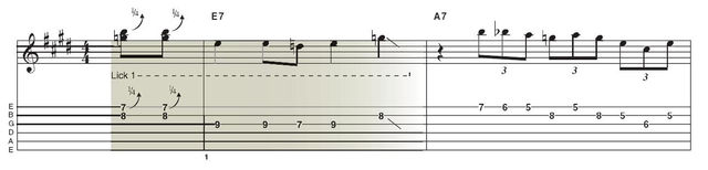Lick 1: This lick, and indeed the whole solo, starts off with a double-stop that pedals a B on the first string 7th fret with a G on the second string 8th fret, pushed almost up to G# in that classic major/minor blues ambiguity. G is of course the minor 3rd and G# the major 3rd of E. You can hear this move at the top of John Mayall's Rambling On My Mind and the second lick in SRV's Pride And Joy.